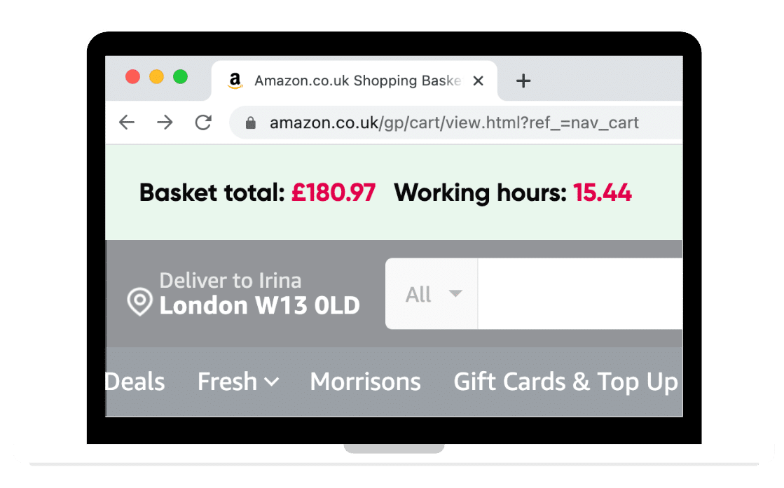 Claro money's free Chrome extension shows you the value of your shopping basket in working hours