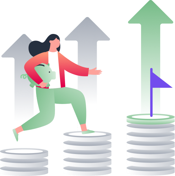 woman climbing stack of coins