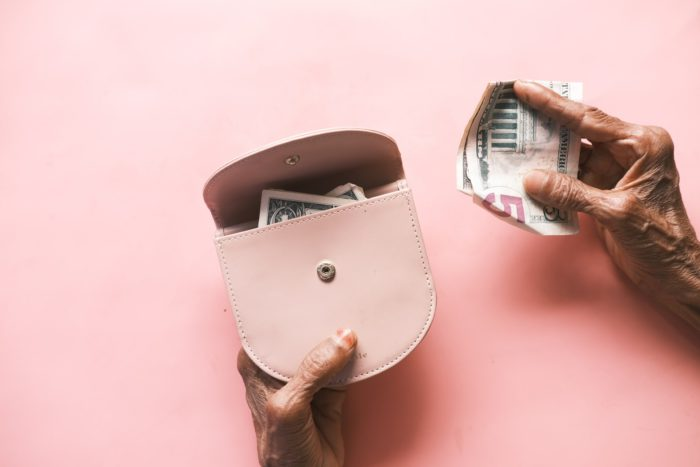 wallet on pink background